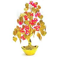 Cây Tài Lộc Thỏi Vàng Lá Vàng Hoa Đào Hạt Châu25x41cm