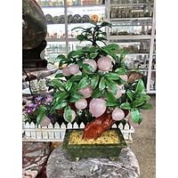 Cây Đào phong thủy đá thạch anh hồng 18 quả - Cao 50 cm