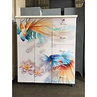 Tủ nhựa Đài Loan 2 cánh 5 hộc in hình 3d con cá