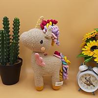 Gấu bông móc len Amigurumi cao cấp - Ngựa Unicorn, đồ chơi nhồi bông hình chú kỳ lân cho bé - SP000285