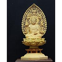 Tượng gỗ Phật Bà Quan Âm có hào quang ( gỗ Hoàng Dương cao 17cm)
