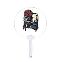Quạt tròn cán nhựa in hình VÙNG ĐẤT LINH HỒN anime chibi Spirited Away cầm tay trang trí dễ thương xinh xắn