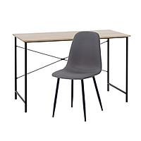 Combo Bàn làm việc JYSK Vandborg khung kim loại xám/đen + Ghế bàn ăn JYSK Jonstrup bọc vải xám chân kim loại sơn đen