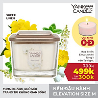 Nến ly vuông Elevation Yankee Candle size M - Sheer Linen (347g)