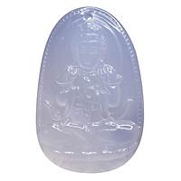Mặt dây chuyền Như Lai Đại Nhật Mã não trắng tự nhiên - Phật Bản Mệnh cho người tuổi Mùi, Thân size lớn VietGemstones