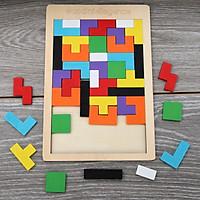 Đồ Chơi Gỗ Montessori - Bảng Xếp Hình Bằng Gỗ Tetris Cao Cấp đầy màu sắc cho bé học tập và vui chơi