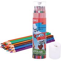 Ống Bút Chì Màu Học Sinh Deli EC00827 - 24 Màu - Kèm Gọt Chì