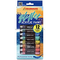 Hộp Giấy 12 Tuýp Glitter Acrylic Paint Colormate