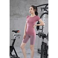 Áo tập gym nữ  Louro LA10, kiểu áo ngắn tay tập Gym, Yoga, Zumba chất liệu siêu co giãn, có lỗ thoáng khí phía lưng