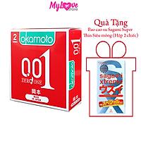 Bao Cao Su Okamoto Zero One Siêu Mỏng 0,01 Hộp 2 Chiếc Nhật Bản + Tặng 1 Hộp Bao Cao Su Sagami Xtreme Super Thin Siêu Mỏng 0,03 mm Hộp 2 Chiếc Nhật Bản