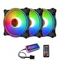 3 Quạt Tản Nhiệt, Fan Case Coolmoon M1 Led RGB Dual Ring-Kèm Bộ Hub Và Remote - Hàng nhập khẩu