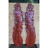 Cặp tranh gỗ quả bầu in câu thơ CHA MẸ gỗ HƯƠNG ĐỎ, GÕ ĐỎ 29cm x 107cm