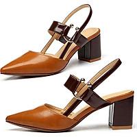 Giày cao gót nữ đẹp  bít mũi khóa C  đế vuông cao cấp 5 phân YUUPN016.