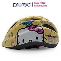 Mũ bảo hiểm xe đạp trẻ em Protec SMILE W024, nón bảo hiểm siêu nhẹ tiêu chuẩn Châu Âu, có đèn hậu an toàn, họa tiết đẹp, ấn tượng cho cả bé trai và bé gái