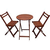 Bộ bàn ghế cafe cao cấp bằng gỗ tràm, gấp gọn – 1 bàn tròn và 2 ghế