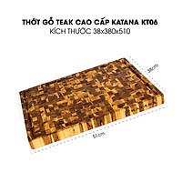 Thớt gỗ Teak đầu cây cao cấp KATANA cỡ lớn 38x51 cm dày 38ly - KT06