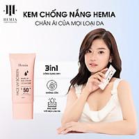 Kem chống nắng HEMIA dưỡng trắng nâng tone SPF50+, chiết xuất 100% tự nhiên, Makeup Da Không Nhờn, Không Bết Dính