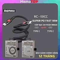 Cáp sạc nhanh Type C to type C REMAX Super PD  RC 151cc, dây sạc Type C Samsung -Hàng Chính Hãng