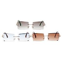 3x Retro Rimless Sunglasses Classic Party Tinted Lens Metal Frame Eyewear UV 400