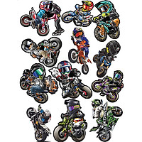 Bộ 12 Tem Biker Xe Moto Phượt Thủ - Chống Thấm Nước