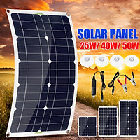 25/40/50W Flexible Solar Panel Kit Monocrystalline Silicon IP65 Waterproof DC18V Portable Charger With USB Ports Car R