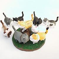 Mèo mô hình trang trí táp lô xe hơi, tiểu cảnh, bàn học, bàn làm việc siêu cute (bộ 9 con) - Mẫu 1
