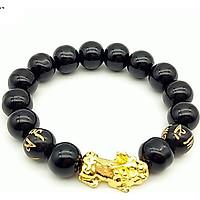 Vòng Tay Nam Nữ Phong Thủy Đá Thạch Anh Đen Mix Tỳ Hưu Vàng