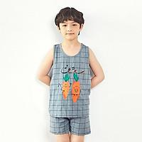 Bộ đồ ba lỗ mặc nhà cotton mịn cho bé trai U4004 - Unifriend Hàn Quốc, Cotton Organic