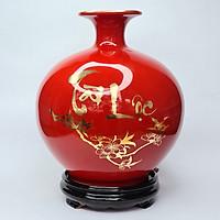 Bình Hút Lộc Gốm Sứ Đỏ Vẽ Vàng - Tài Lộc - Công Đào - Mx
