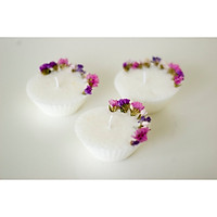 Bộ 3 sản phẩm nến thơm tealight. Nến hoa salem khô. Nến sáp ong hương hoa nhài, hương hoa lavender và hương hoa ngọc lan (ylang ylang)