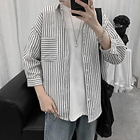 Spot real shot new summer men's urban fashion academy style comfortable and versatile loose youth simple and handsome casual seven-point sleeve short-sleeved shirt