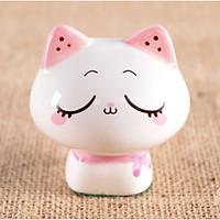 Tượng trang trí gốm sứ mèo kute 6x6.5cm - Mặt buồn