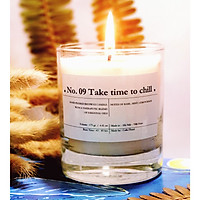 No. 09 Take time to chill - nến thơm cao cấp bằng sáp đậu nành và hỗn hợp tinh dầu: húng quế, bạc hà, chanh