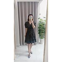 Váy đầm nữ dáng dài,kiểu cổ tim đắp chéo bèo , chất lụa bao mát k nhăn , dáng dễ mặc, cực xinh - V002