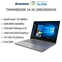 Laptop Lenovo Thinkbook 14-IIL 20SL00XQVN (Core i3-1005G1 | 4GB | 1TB HDD | Intel UHD | 14.0 inch FHD | Free Dos | Xám) - Hàng Chính Hãng