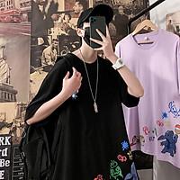 3 Color【M-3XL】Summer New Style Fashion Graffiti Printed Graphic Short Sleeve T-shirt Men Breathable Unisex Half Sleeve T-shirt Oversize Student Short T-shirt Couple Wear
