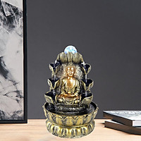 Sitting Buddha Fountain Fengshui Buddha Indoor Decoration Zen Meditation Tabletop Decorative Waterfall with Led Light for Office and Home Decor