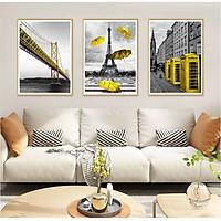Bộ 3 tranh canvas treo tường Decor Kỳ quan kiến trúc thế giới - DC045
