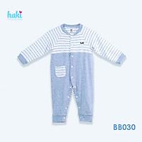 Body cho bé sơ sinh vải sợi tre cao cấp siêu mềm mịn - body suit cho trẻ sơ sinh - bé trai - bé gái , Bộ áo liền quần bodysuit cho bé , body dài tay cài giữa phối thân trước size cho bé từ newborn đến 12 tháng (2.5- 10kg) HAKI BB030
