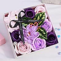 Hộp hoa hồng sáp thơm 15cm - màu tím hồng