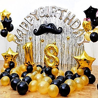 Set bóng Happy birthday + 2 rèm kim tuyến + 50 bóng nhũ {Tặng bơm+băng keo+ruy băng}