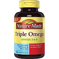 Viên Uống Nature Made Triple Omega 3-6-9 Từ Dầu Cá, Hạt Lanh, Hoa Rum & Ôliu