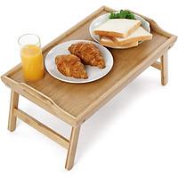 Bàn Ăn Mini Chân Gấp Gọn, Khay Đa Năng, Bàn Ăn Sáng Trên Giường, Di Động, Tiện Lợi - 50x30x20 cm