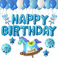 Set bóng trang trí sinh nhật Ngựa xanh 20 chi tiết (tặng kèm 20 bóng bay xanh và trắng)