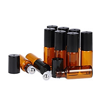 10 Pcs 5ml Essential Oils Roller Bottle Amber Glass Roll-on Bottles Stainless Steel Roller Ball Essential Oil Jar with