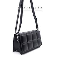 Túi xách nữ/ 1992 s t u d i o / FIONA BAG/ túi màu đen da dập vuông