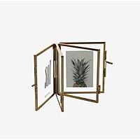 Khung ảnh trang trí dạng gập để bàn Monote Havana, màu Gold, chất liệu thủy tinh và thép