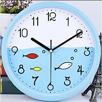 Đồng hồ treo tường tròn nhựa đàn cá nhỏ xanh da trời 26cm