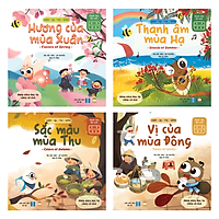 Set 4 Cuốn Xuân Hạ Thu Đông - Sách Truyện Song Ngữ Dạy Trẻ Về 4 Mùa & 4 Giác Quan (Cho Bé 0-3-6 tuổi )
