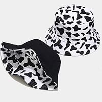 Mũ rộng vành chống nắng đội được 2 mặt họa tiết bò sữa & đen trơn thời trang - Hạnh Dương